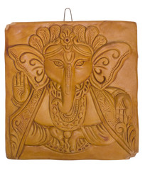 Lord Ganesha engraved on a wooden block