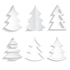set of white paper Christmas trees