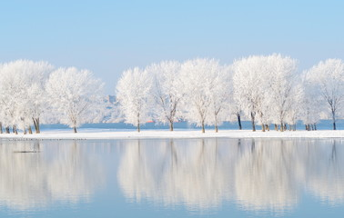 Photo sur Plexiglas Bleu ciel winter landscape with beautiful reflection in the water