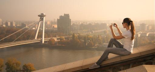girl take picture Bratislava