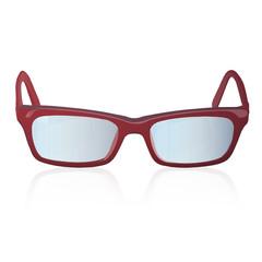 Red glasses over white background.