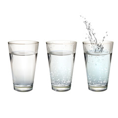 Set of realistic water glasses with different actions.