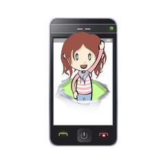 Girl inside hole on phone