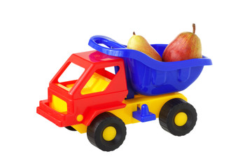 Toy truck with pears.