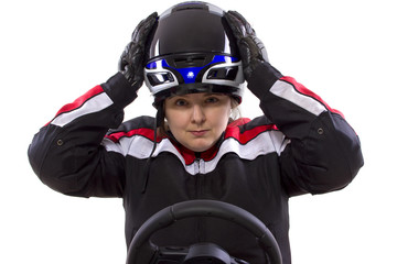 young female race car driver in a racing suit and helmet