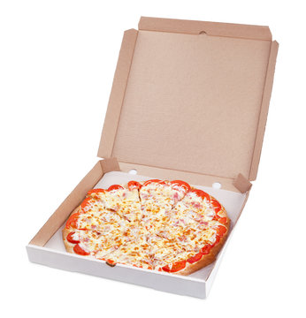 italian pizza in cardboard box on white with clipping path