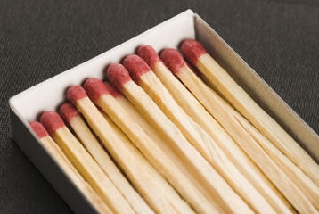 Close-up of an open matchbox with matchsticks