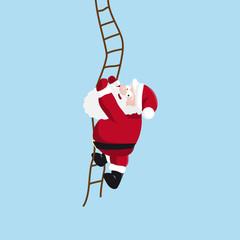 Santa climbs the ladder