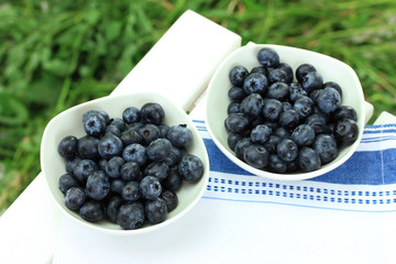 Blueberries in plates