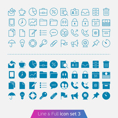 Business and Office set 3. Trendy thin icons for web and mobile.