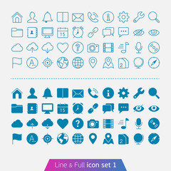 Universal Basic set 1. Trendy thin icons for web and mobile. Lin