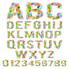Vector set of multicolored geometric polygonal broken alphabet