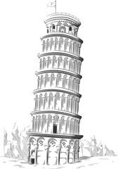 Sketch of Italy Landmark - Leaning Tower of Pisa