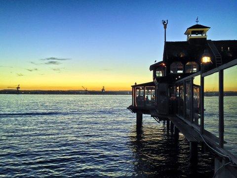 Pier Cafe at Sunset Seaport Village San Diego California USA