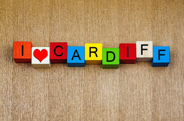 I Love Cardiff, Wales - sign series for city travel