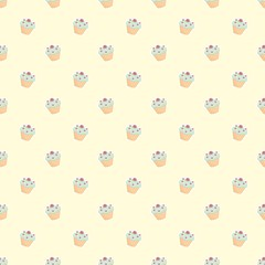 Seamless vector pattern with cupcakes on yellow background
