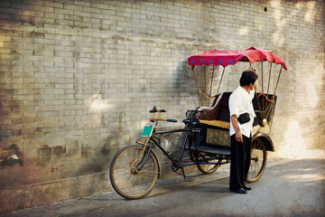 Printed kitchen splashbacks Beijing Typical Asian rickshaw