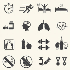 Fitness and Health icons. Healthy lifestyle. Vector