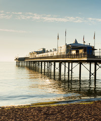 Fototapete - English Pier by the sea tradititonal structure in England
