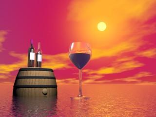 Red wine tasting - 3D render