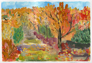Autumn forest landscape, gouache sketch.