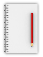 blank realistic spiral notepad notebook isolated on white, 3d