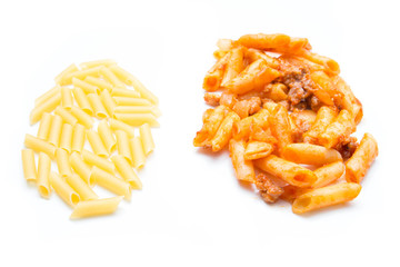 After and before: raw and macaroni bolognese