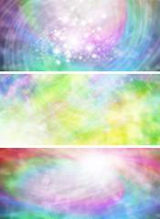 Three watercolour website header panels