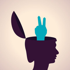 Illustration of thinking concept-Human head with victory symbol