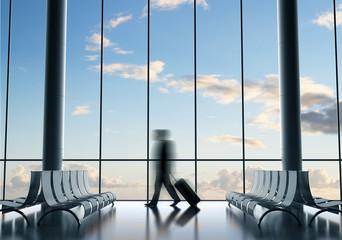Fotobehang - businessman in airport