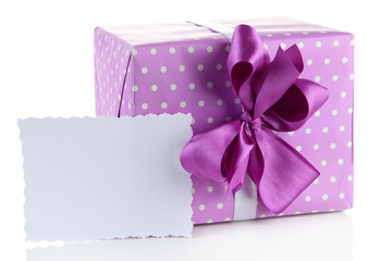 Gift box with blank label isolated on white