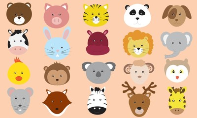 Cute Animals Faces Icons Vector Collection