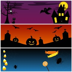 Halloween Banners Vector Set