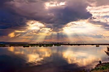 sunset  sea cloudscape
