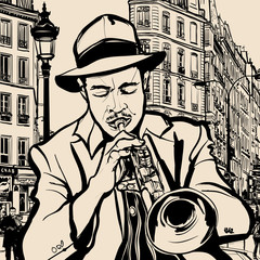 Wall Mural - trumpet player on a cityscape background