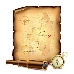 Pirates treasure map with spyglass and compass