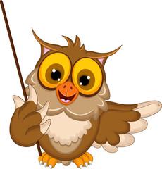 cute owl cartoon holding stick