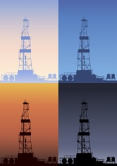 Oil rig at different times of the day