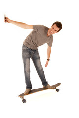 young man taking his picture on long board