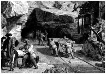 Beginning to dig a Tunnel - Technology 19th century