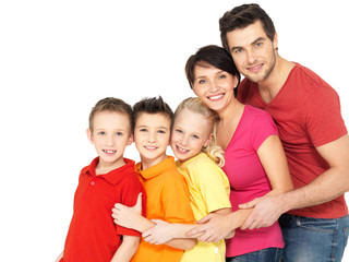 Wall Mural - Happy family with children standing together in line