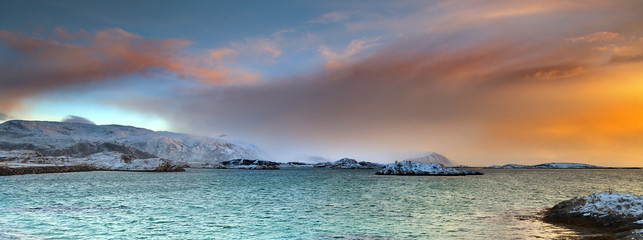 Arctic sunrise.Sommaroy,above the Polar Circle.