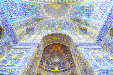 The interior view of the Shah Mosque in Isfahan, Iran