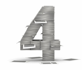 Number 4, pages paper stacks font