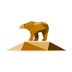 Canvas Prints Geometric animals Abstract bear isolated on a white background