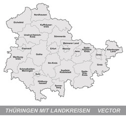 Inselkarte von Thueringen mit Grenzen in Grau