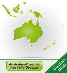 Australien-Ozeanien mit Grenzen in Grün