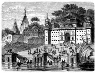 Benares : Gaths - Gange River - View : 19th century