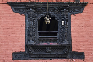 Newari window house in Kathmadu, Nepal