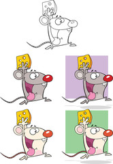 Cute Mouse Cartoon Characters. Collection Set